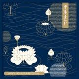 Карточка фестиваля осени вектора китайская средняя дизайн для карточек, крышек, упаковывая перевод hyeroglyph: средний фестиваль  Стоковые Фото