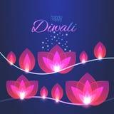 Карточка фестиваля diwali вектора счастливая Иллюстрация с гирляндами света лотоса Стоковые Фотографии RF