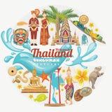 Карточка фестиваля Songkran в Таиланде Тайские праздники иллюстрация штока