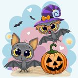 Карточка хеллоуина приветствию с 2 летучими мышами иллюстрация штока