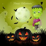 Карточка хеллоуина с пугающим Frankenstein стоковое фото rf