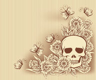 Карточка хеллоуина винтажная с черепом, вектором Стоковые Фото