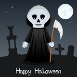 Карточка хеллоуина мрачного жнеца счастливая Стоковое фото RF