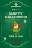 Карточка хеллоуина на зеленой доске Стоковая Фотография