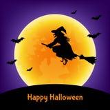 Карточка хеллоуина с ведьмой, летучими мышами и луной Стоковое Изображение