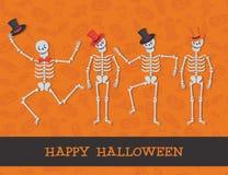 Карточка хеллоуина с милыми скелетами Стоковое Изображение RF