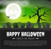 Карточка хеллоуина с могильными камнями бесплатная иллюстрация