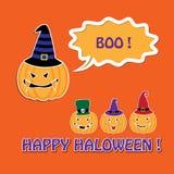 Карточка хеллоуина с тыквами в шляпах Стоковые Фотографии RF