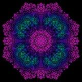 Карточка цвета орнамента с мандалой декоративный сбор винограда элементов рука нарисованная предпосылкой Стоковое Фото