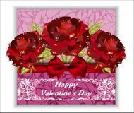 карточка цветет приветствие связанный вектор Валентайн иллюстрации s 2 сердец дня Стоковая Фотография RF
