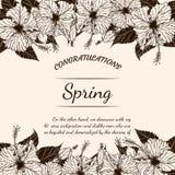Карточка цветка хризантемы вручную рисуя Стоковые Изображения RF