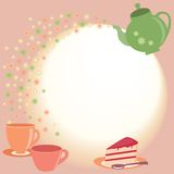 Карточка чая с чайником, чашками и цветками бесплатная иллюстрация
