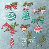 Карточка шарика рождества также вектор иллюстрации притяжки corel Стоковое фото RF