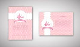 Карточка шнурка дня валентинок винтажная с птицей и знаменем и место для текста Стоковая Фотография RF