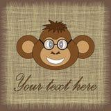 Карточка для дня рождения с обезьяной в EPS 10 внутри Стоковые Изображения