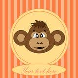 Карточка для дня рождения с обезьяной в EPS 10 внутри Стоковые Изображения RF