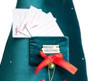 Карточка для того чтобы сделать желание в рождественской елке стоковое изображение rf