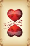 Карточка для любовников года сбора винограда Комплект 1 вектор Стоковое фото RF