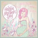 Карточка Дня матери с силуэтом матери и ребенка Стоковые Фото