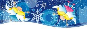 Карточка Christmass с хлопь Стоковое Фото