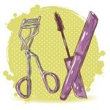 Карточка curler и mascara ресницы состава красотки иллюстрация штока