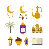 Карточка Eid mubarak с значками комплекта Стоковые Фото