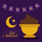 Карточка Eid mubarak с луной и гирляндами Стоковое Фото