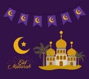 Карточка Eid mubarak с луной и замками Стоковое фото RF