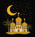 Карточка Eid mubarak с луной и замками Стоковые Фотографии RF