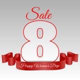 Карточка eps 10 8-ое марта дня женщины продажи Стоковая Фотография RF