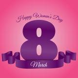 Карточка eps 10 8-ое марта дня женщины розовая фиолетовая Стоковое Изображение RF