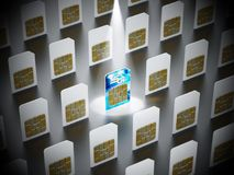 карточка 5G SIM стоит вне среди стандартных карточек sim иллюстрация 3d Стоковое фото RF