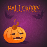 карточка halloween Иллюстрация вектора с тыквой Стоковые Изображения RF