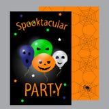 карточка halloween Партия Spooktacular Плоская иллюстрация вектора дизайна Стоковые Фотографии RF