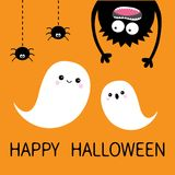 карточка halloween счастливый Дух летая призрака 2 Силуэт изверга головной Глаза, руки Висеть вверх ногами Черный штриховой пункт иллюстрация штока