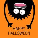 карточка halloween счастливый Кричащий силуэт головы изверга 2 глаза, зубы, язык, руки Висеть вверх ногами Черный смешной милый а иллюстрация вектора