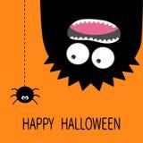 карточка halloween счастливый Силуэт изверга головной 2 глаза, зубы, язык Висеть вверх ногами Черный штриховой пунктир паука Смеш иллюстрация штока