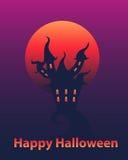 карточка halloween хмурая дом Стоковые Фотографии RF