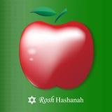 Карточка hashanah Rosh Красное яблоко вектора изолированное на зеленом backgroun Стоковая Фотография RF