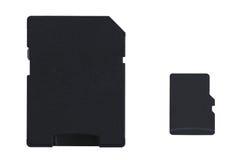 Карточка MicroSD с полноразмерным переходником карточки SD Стоковые Изображения