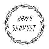 Карточка Shavuot еврейского праздника счастливая Колоски пшеницы венка и ухо, письменный текст руки Круглый венок солода с космос иллюстрация штока