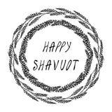 Карточка Shavuot еврейского праздника счастливая Колоски пшеницы венка и ухо, письменный текст руки Круглый венок солода с космос иллюстрация вектора