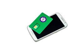 Карточка SIM оператора клетчатого сообщения с функцией Стоковая Фотография RF