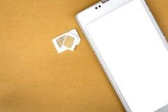 Карточка sim переходника от микро- карточки sim к основной карточке sim Стоковые Изображения