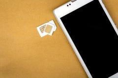 Карточка sim переходника от микро- карточки sim к основной карточке sim Стоковое Изображение RF