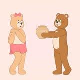 Карточка St. Valentineâs. Плюшевые медвежоата шаржа в влюбленности. иллюстрация штока