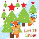 Карточка Xmas с милыми лисами около шаржа дерева, открытки Xmas, обоев, и поздравительной открытки иллюстрация вектора