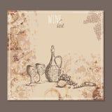 Карточки винной карты Меню чешет эскиз Стоковые Изображения