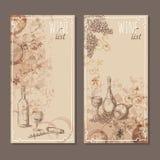 Карточки винной карты Меню чешет эскиз Стоковая Фотография RF