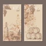 Карточки винной карты Меню чешет эскиз Стоковые Фото